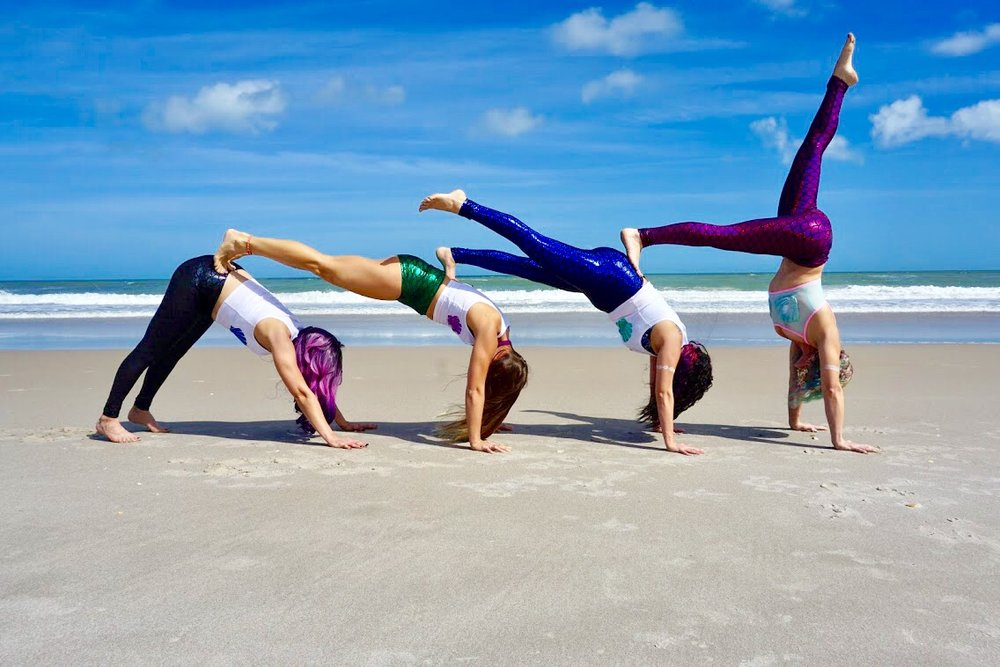 Aerial Yoga Goddesses at the beach