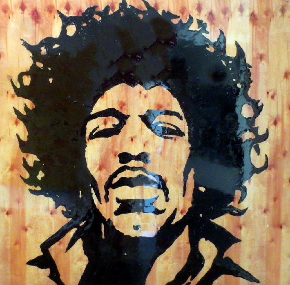 Jimi 48V x 48H in. stain - enamel - resin on wood