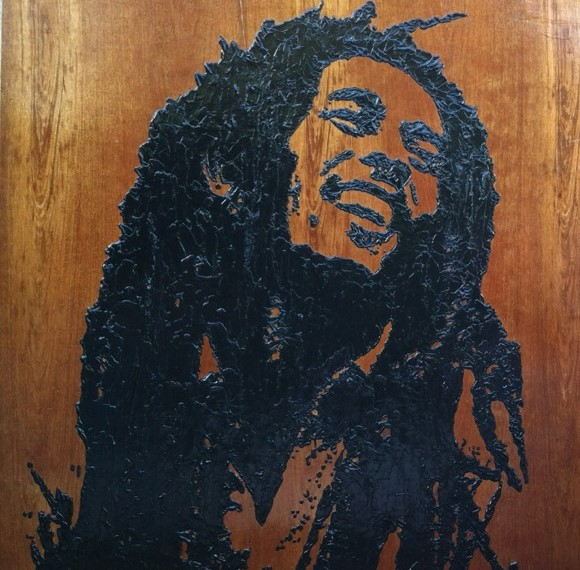 Bob 48V x 48H in. stain - enamel - acrylic on wood