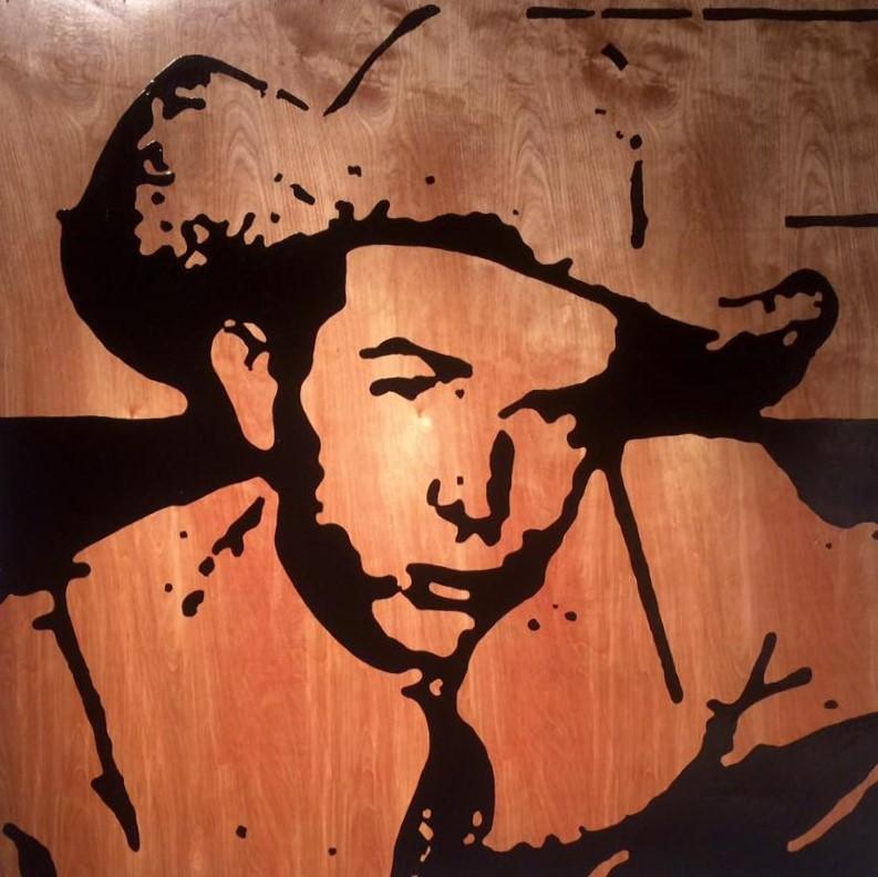 Hank 48V x 48H in. stain - enamel - acrylic on wood.
