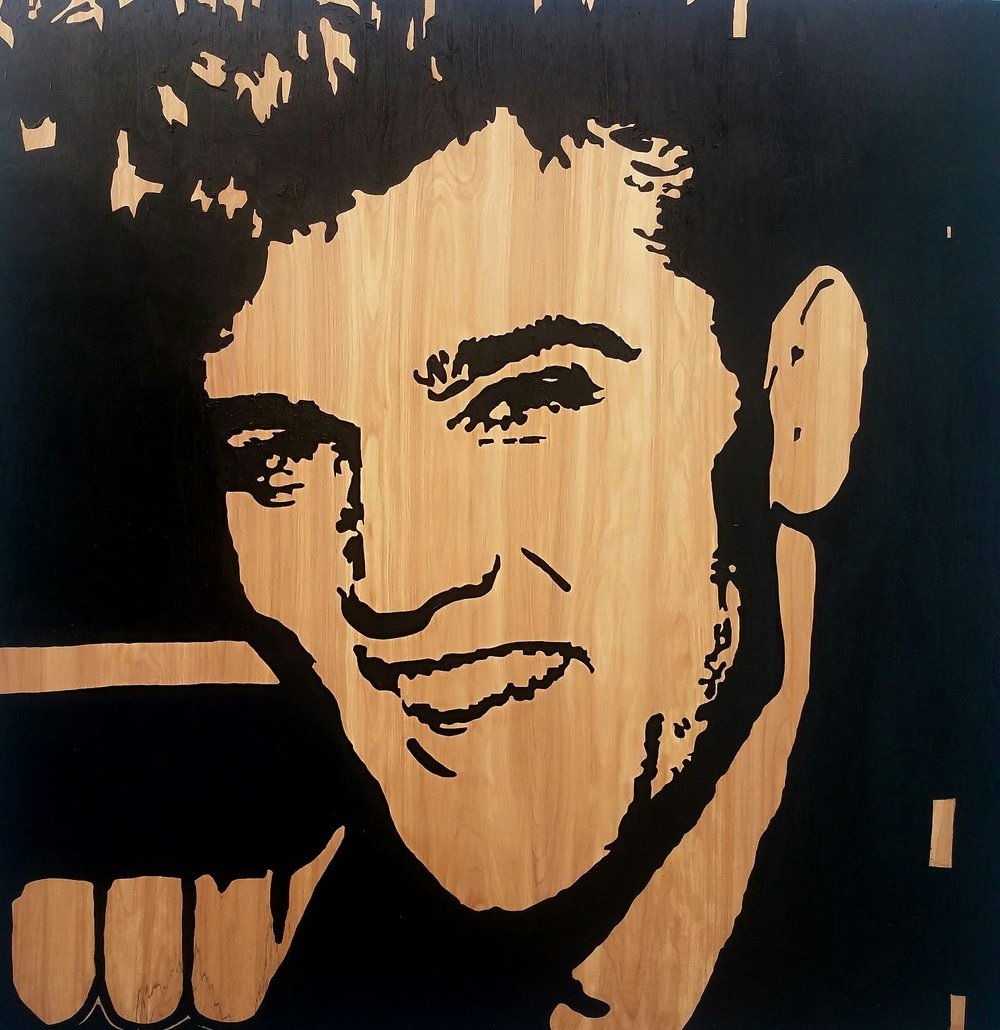 Elvis 48V x 48H in. stain - enamel - acrylic on wood.