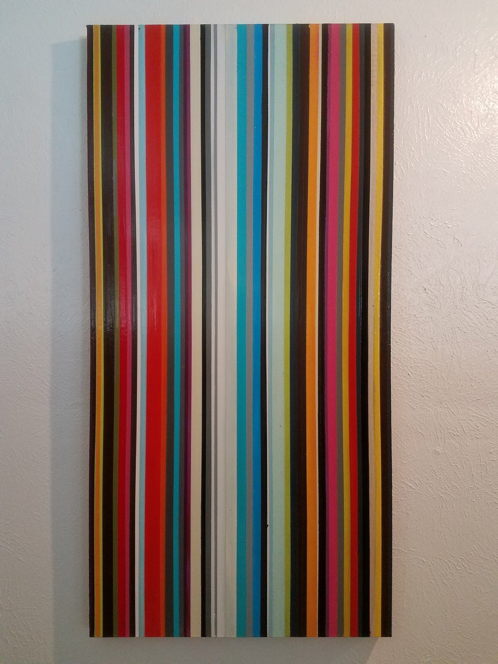 "Spectrus-48""H x 24""W  Media: enamel, latex, mixed on board"