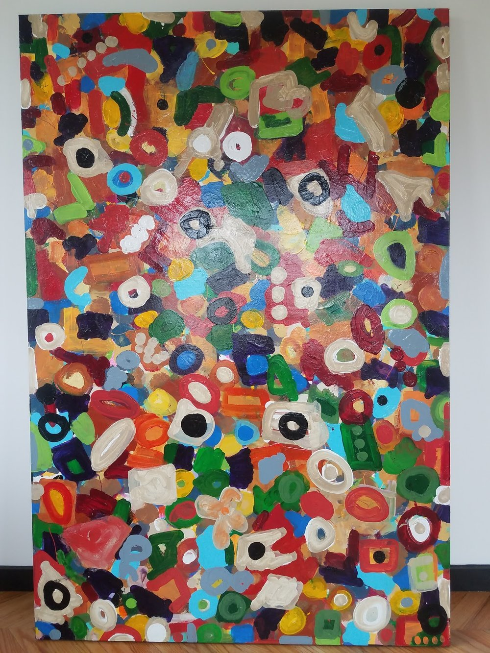 "We Are All Here-72""H x 48""W  Media: enamel, latex, mixed on board"