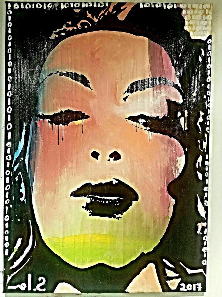 """Mariam-84""""H x 58""""W  Media: enamel, latex, acrylic on canvas"""