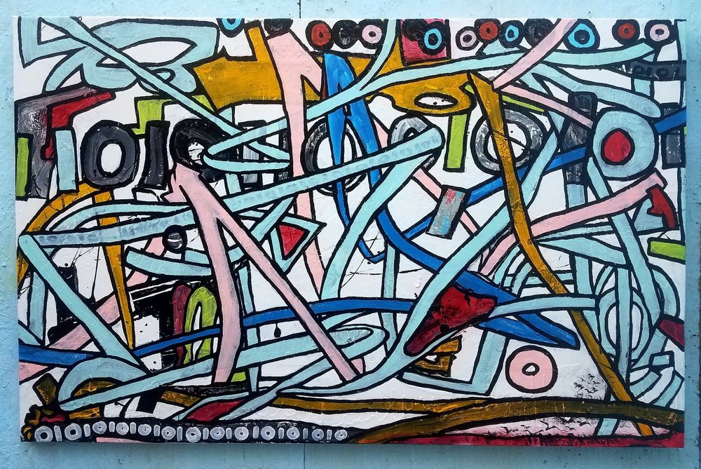 """Naked-Lunch 50"""" x 78""""  Media: enamel, latex, mixed on canvas"""