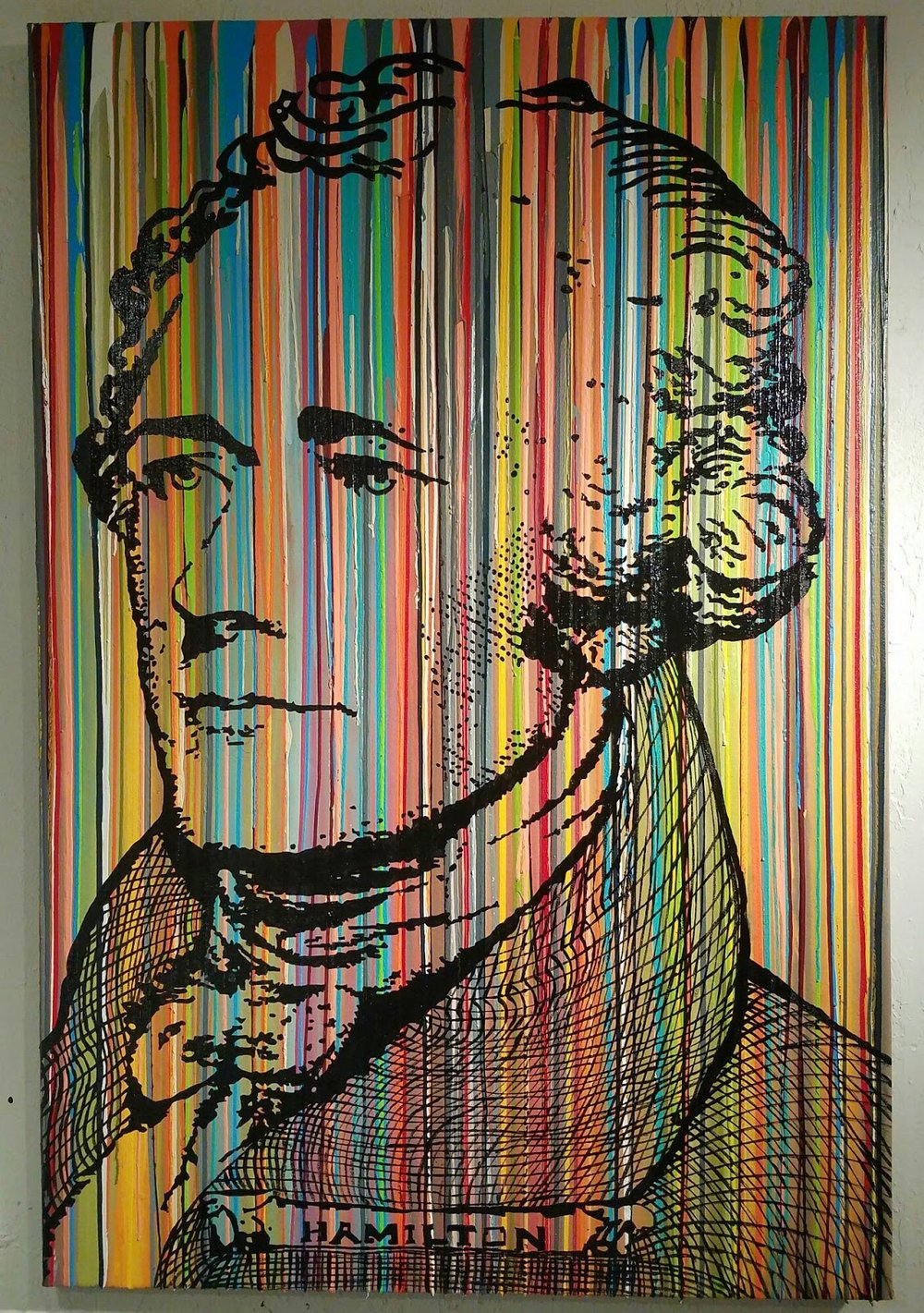 Hamilton-Hamilton 48 x 72 in  Media: enamel, latex, acrylic mixed on canvas