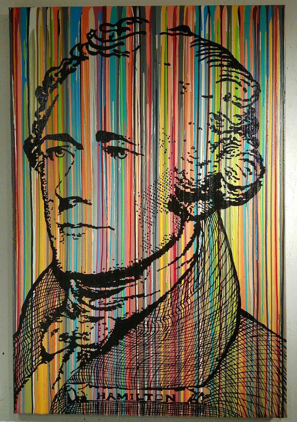 Hamilton-Hamilton 48 x 72 in  Media: enamel, latex, acrylic mixed on canvas