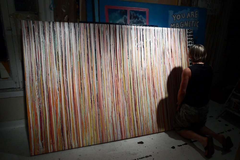 Striation -52 x 96 in acrylic/mixed on canvas