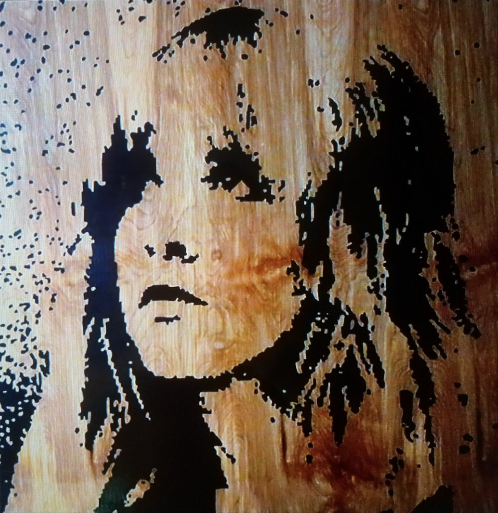 Stevie 48V x 48H in. enamel on wood.