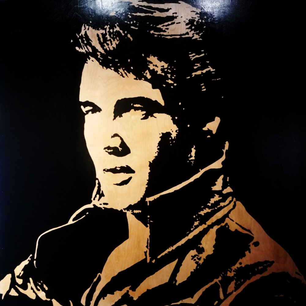 Elvis #2 48V x 48H in. enamel on wood.