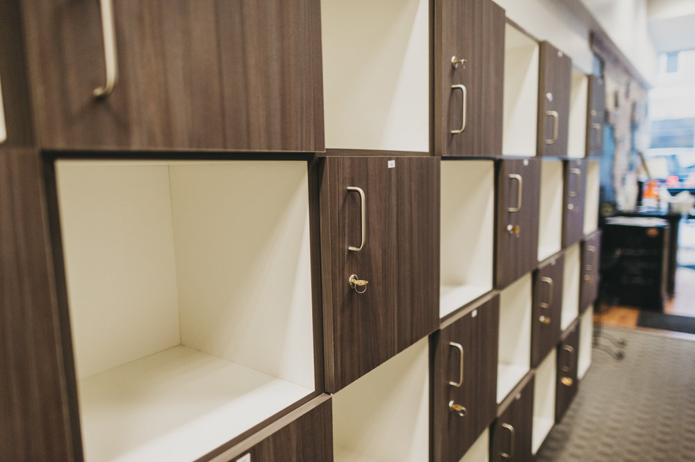 Store your belongings in a cubby or locker