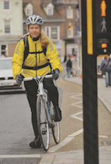 """I leave my work shoes, suit coat and a selection of toiletries at the office to reduce the weight I need to carry daily.""  Publication: Evans Cycles Summer Catalogue  Feature title: Penny's Commute 