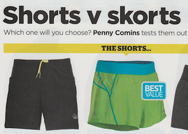 Which one will you choose? Penny Comins test them out  Publication: Trail Running  Feature title: Shorts v skorts | PDF1 ,  PDF2