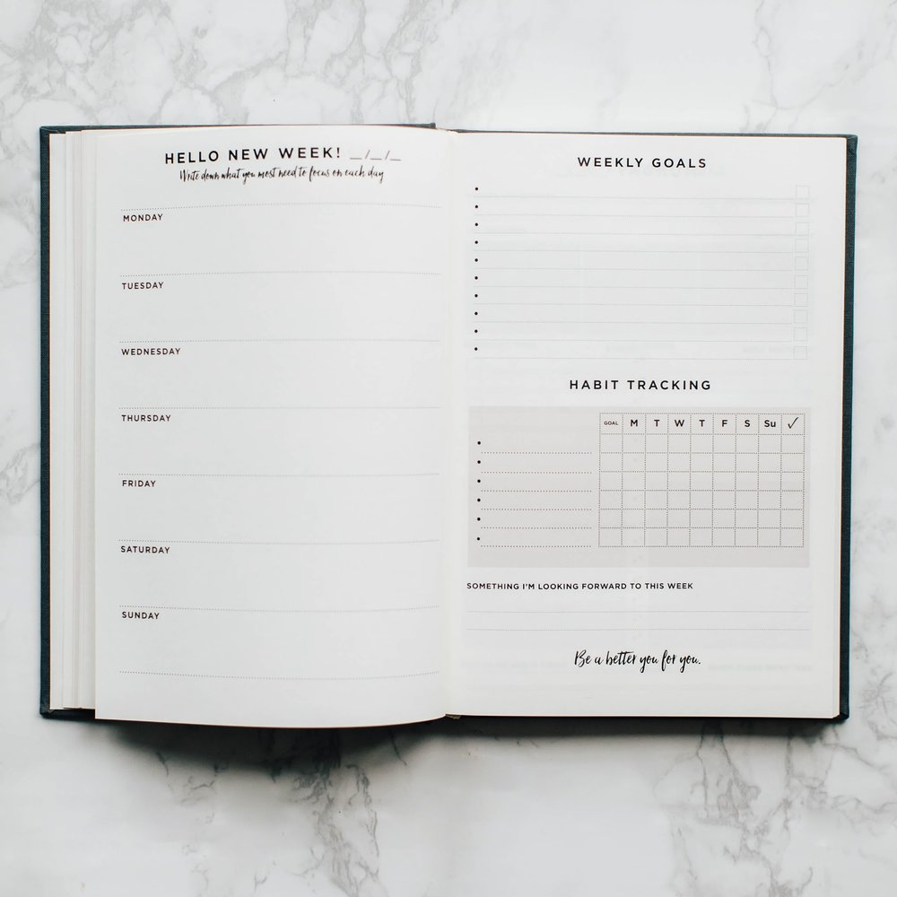 Plan the week ahead - make a note of what you need to focus each day, write down your to-do's & track habits.