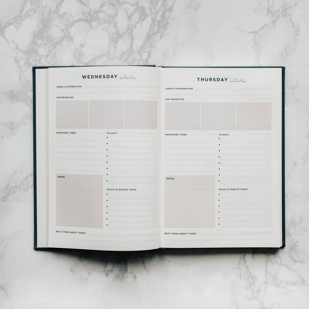Create a detailed plan for each day - write your daily affirmation, top 3 priorities, important times, other to-do's, quick 10 min tasks, notes & best thing about that day.