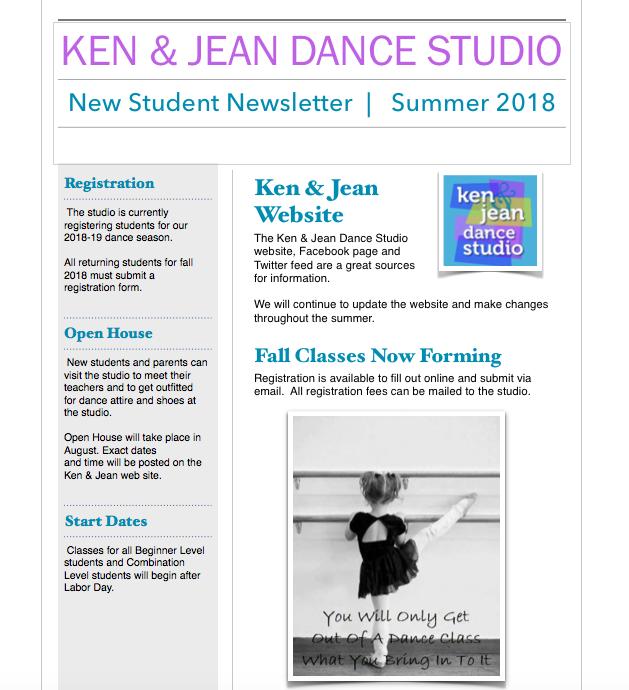 new student newsletter ken jean dance studio