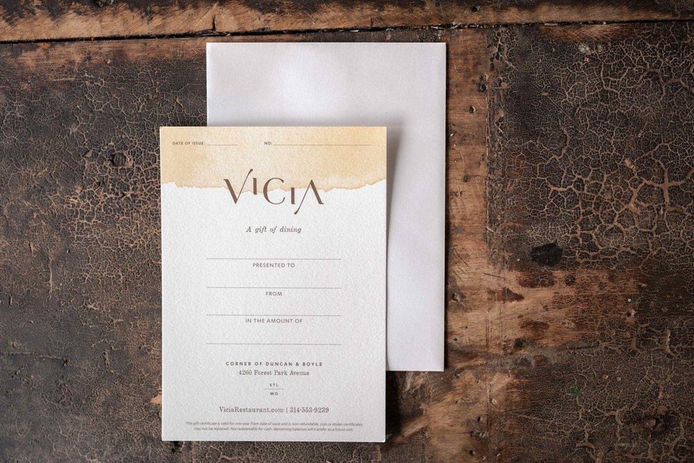 Gift Certificate Vicia Restaurant