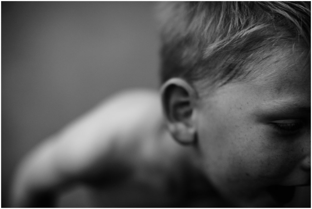 Milwaukee Lifestyle Photographer | Documentary photography of young boy's childhood | Sweaty face.