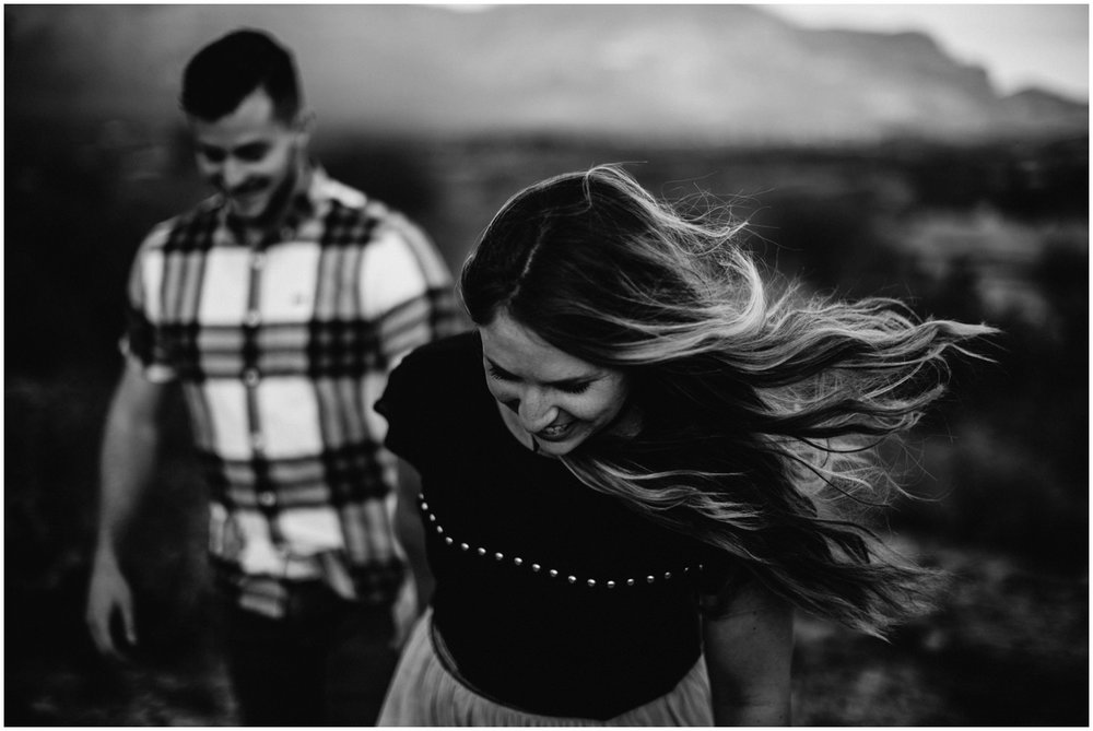 Superstition Mountain Engagement Photos // Arizona Desert Engagement // Windblown Engagement.