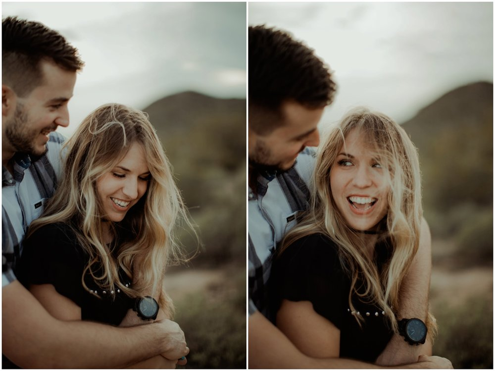 Superstition Mountain Engagement Photos // Arizona Desert Engagement // Candid couple in mountains.