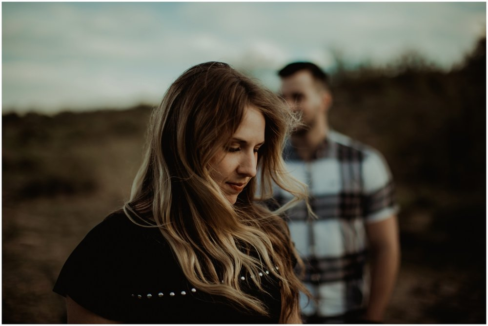Superstition Mountain Engagement Photos // Arizona Desert Engagement // Windblown hair.