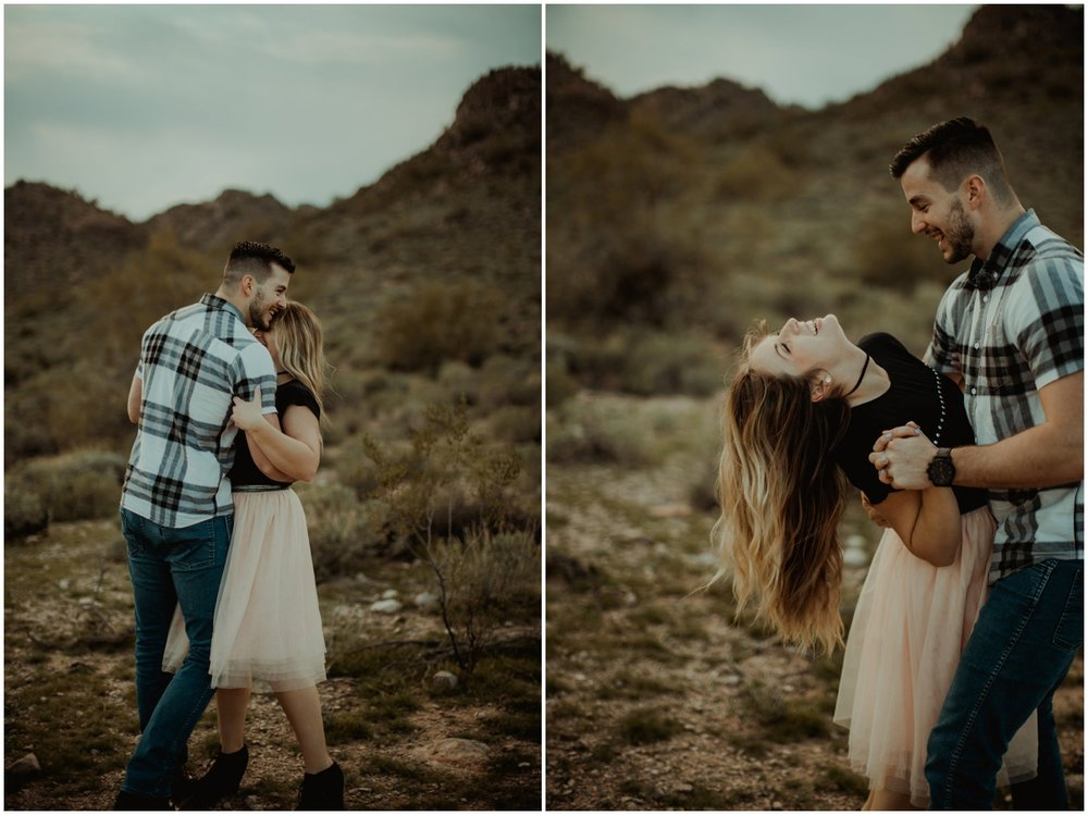 Superstition Mountain Engagement Photos // Arizona Desert Engagement // Couple dancing in mountains.