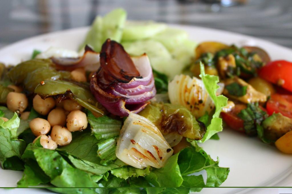 Oven-Roasted Vegetables on Salad