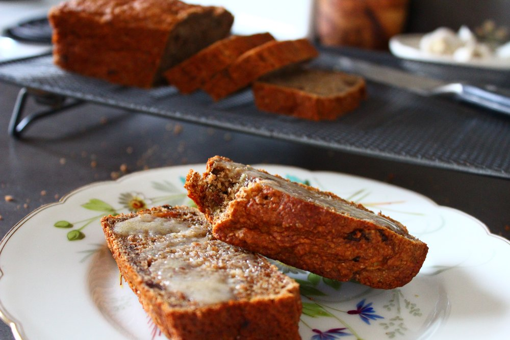 Toasted and Buttered Sugar-Free Banana Bread