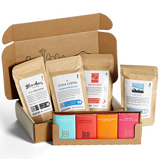 Have a chocolate and coffee lover in your life? They will adore this artisan chocolate and gourmet Seattle coffee pairing gift box!