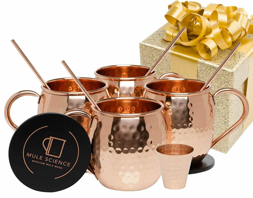 Matthew adores Moscow Mules, so we recently bought a set of mugs! These are hand-crafted, 100% pure copper, and tarnish resistant. I love how this set comes with reusable copper straws and a copper shot glass- beautiful!