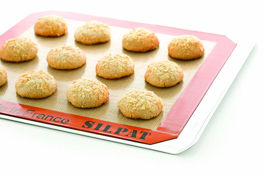 This is one of my favorite items in my kitchen! The Silpat baking mat prevents anything from sticking, whether I'm baking cookies or roasting butternut squash and broccoli. Everything just slides right off, meaning almost no clean-up work! Huge time-saver in the kitchen :)