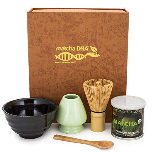 Matthew got this very set for me for my birthday, and I love it! Any matcha green tea drinker will adore this set, with premium reserve matcha, handmade ceramic tea bowl and ceramic whisk holder, as well as the much needed handmade bamboo whisk and spoon.