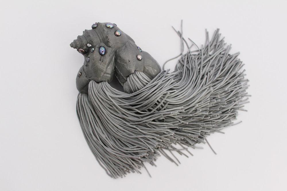Chloe Rose Taylor, Black Lipped Oyster (brooch), 2016, cast resin, freshwater pearls, tortoiseshell, fringing, silver,
