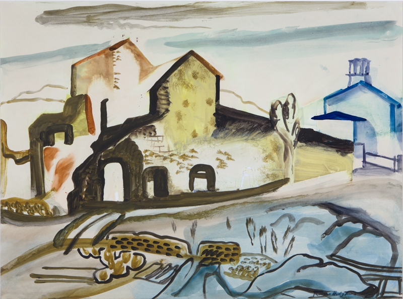 Frances HODGKINS (New Zealander, b.1869, d.1947),  Ruined Mine, Wales , 1932, gouache on paper. Presented anonymously in 1949. Acc. 245