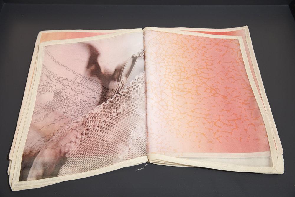 Elke Finkenauer,  Something… …Remember , artist book, 1/1, digital print on silk, cotton, pencil, paint.