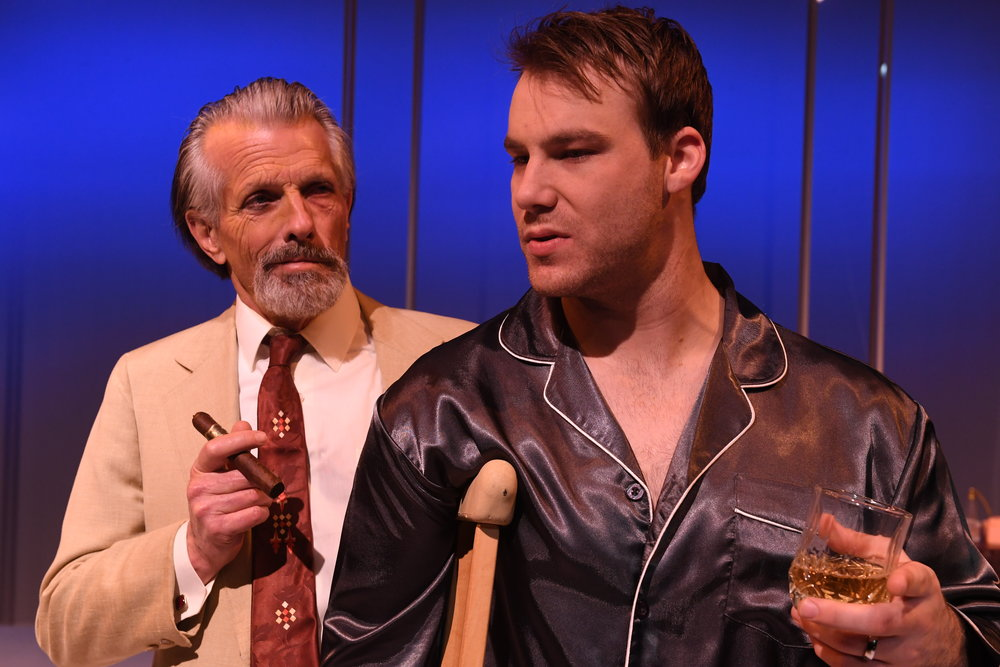 RANDALL KING* as Big Daddy and ROB AUGUST* as Brick San Jose Stage Company's CAT ON A HOT TIN ROOF by Tennessee Williams Photo by Dave Lepori *Members of Actors' Equity Association.