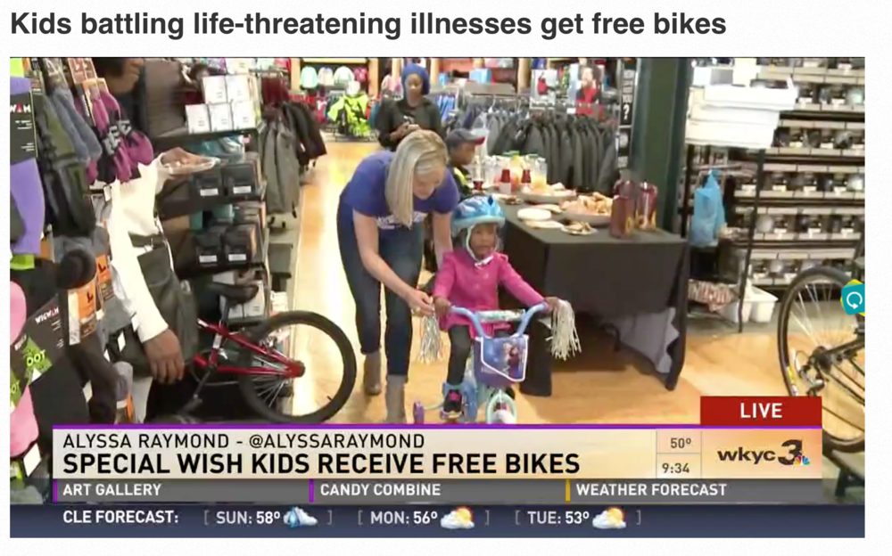 "WESTLAKE - Several little ones battling life-threatening illnesses received a bike for free this morning.    Six kids received a bike and a helmet. Four of these kids are in remission – one of them is 4-year-old Skylar.    ""Bike.  I like it,"" said Skylar.    ""She couldn't wait,"" said Sondra Barksdale, Skylar's mother. ""She got up extra early excited.  She was ready to get her bike.""    A Special Wish and a new nonprofit, Project Purpose, teamed up to make this happen.    ""This is way better than we could have ever hoped for like all these kids and they're little faces,"" said Amanda Puleo, co-founder of Project Purpose. ""They're jumping up and down.  The one little girl said I have a Frozen bike.  My helmet has a crown.  They're just so excited.""    ""It takes a village,"" said Nicole Ryan, who launched Project Purpose with Puleo in July. ""It definitely does but when it's all said and done it's definitely worth it.""    Project Purpose organized a ""spinning class"" to raise enough money for these bikes and helmets."