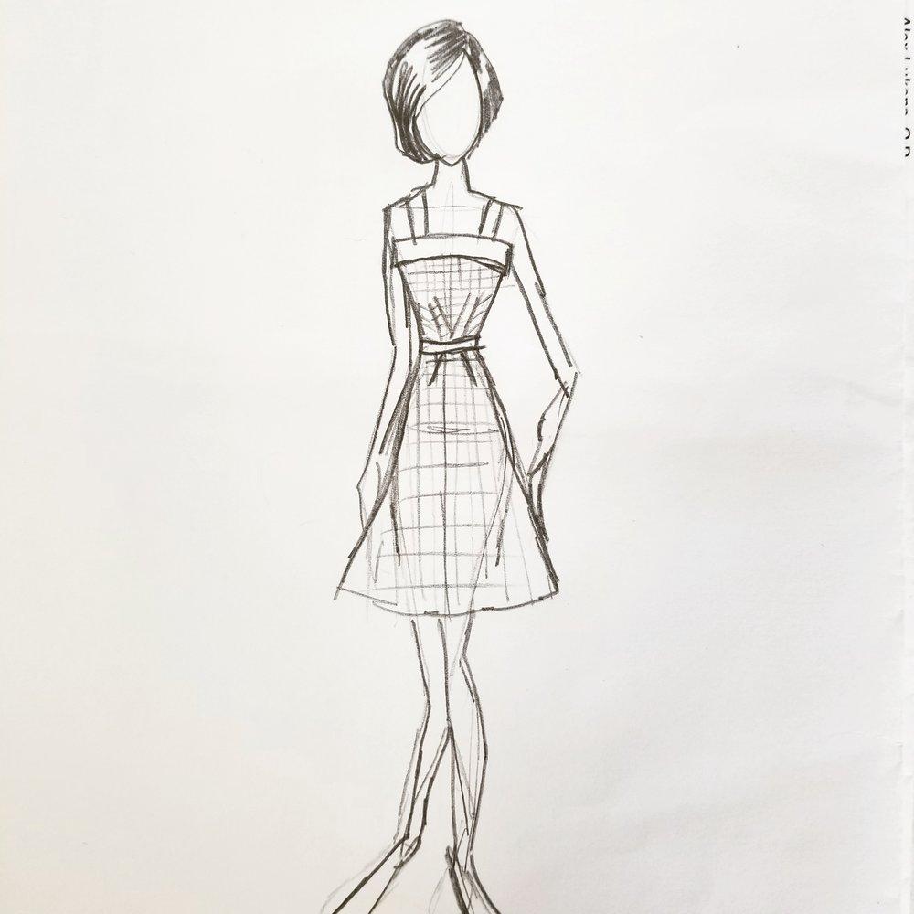 Gingham dress sketch