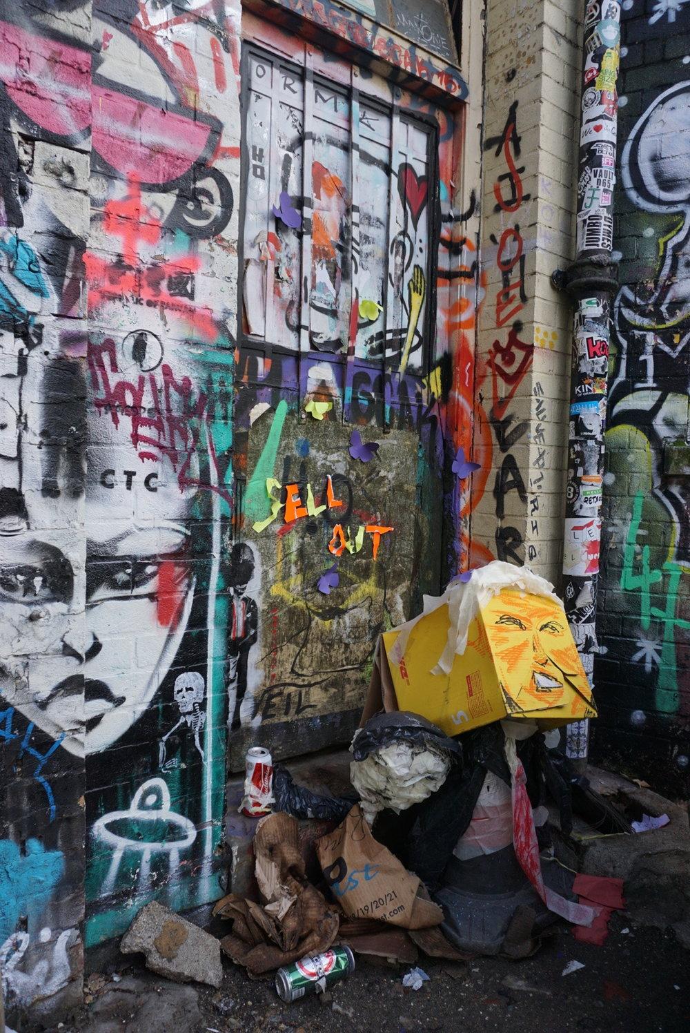 Sell Out Trash sculpture  & Graffiti