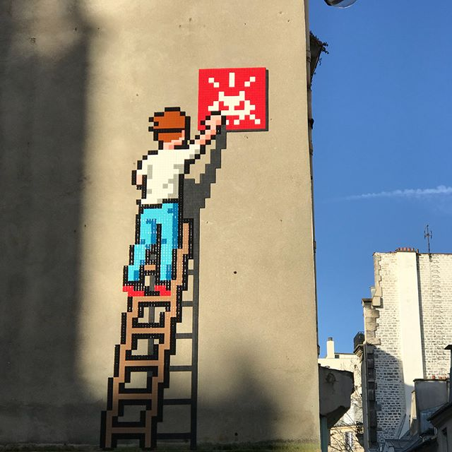 Space Invader hard at work - PA_1336, one of the latest additions to the Paris Streets by the most prolific street artist we know. . . . . #Invader #SpaceInvader #Invaderwashere #pa_1336  #parisstreetart #streetartparis  #streetart #urbanart #streetartlovers #streetartistry #graffiti_of_our_world  #graffart #streetartist #streetartphotography #urbanlife #artist #artderue #arteurbano #arteurbana #arturbain #streetphotography  #street_art #instapic #mosaicart #urbanwalls #urbanphotography #wherethereswalls #wtw_art #streetarteverywhere