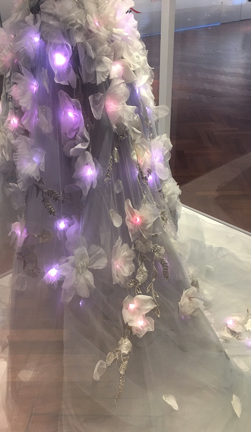Detail of the beautiful handwork and embedded LED lights on the dress.