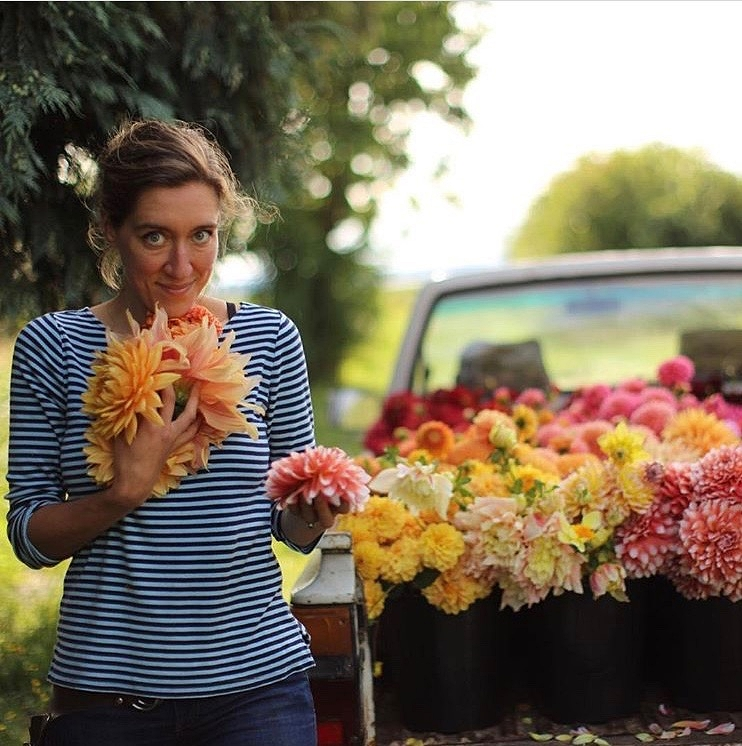 Meet Erin with her huge & beautiful rainbow coloured flowers. photo credit: Floret Flowers