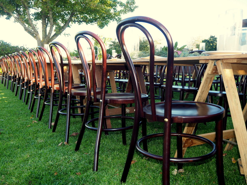 Bentwood Chairs $12 and Rustic Tables $44