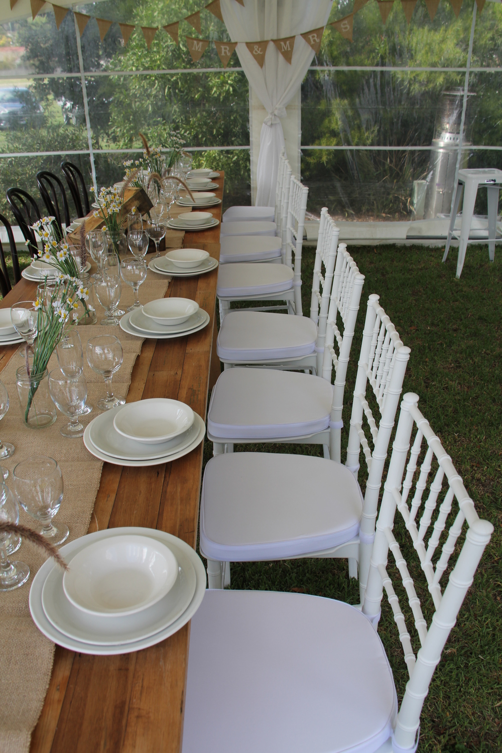 Chiavari Chairs $10 and Rustic 2.4m Tables $44