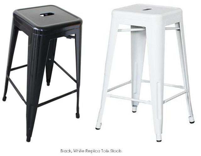 White and Black Tolix Stools $14