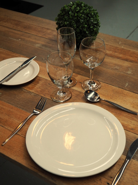 White Dinner Plates 70c each, Wine, Champagne and All Purpose Glasses 70c each Cuttlery 60c