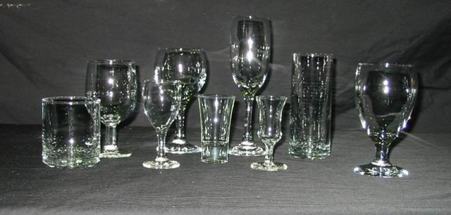 Click Photo for details.          From Left, Whiskey, All Purpose, Wine, Champagne, Hi Ball, All Purpose, Liqueur, Shot, Port 70c