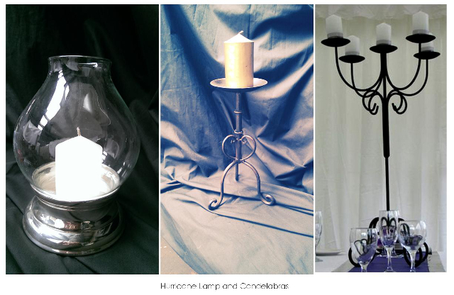 Hurricane Lamp $10, Single Arm Candelabra $3, 5 Branch Candelabra (80cm) $10