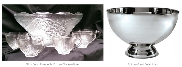 Punch Bowl Set $10, Stainless Punch Bowl $8