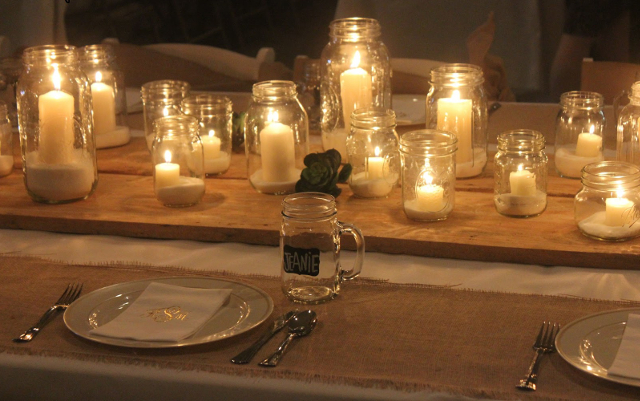 Mason Jars $3, Hessian Table Runner $3 per meter